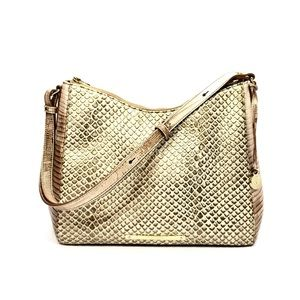 Brahmin Beige/Gold Snakeskin Embossed Leather Bag